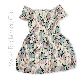 GO COCO Smocked Floral Off-Shoulder Peasant Dress